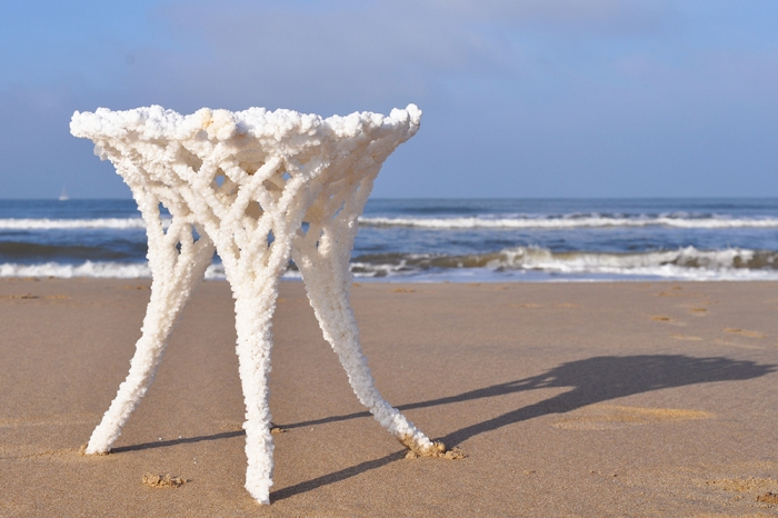 SEAt, Karlijn Sibbel, sea stool, salt chair, salt, sea, dutch design, dutch blue, beach chair, NaCl, textile hardener