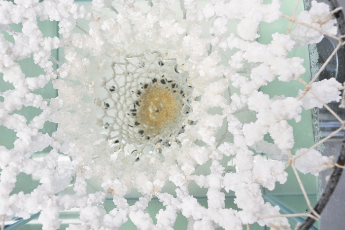 textile hardener, karlijn sibbel, salt, crystal, growth, nacl, cotton wire, Gaudi, flexible shape, design, material research